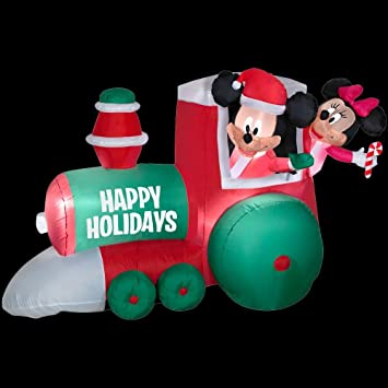 christmas decoration lawn yard inflatable airblown disney mickey mouse minnie christmas train