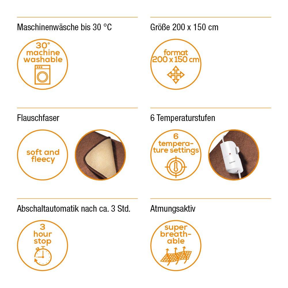 Beurer HD 100 Heizdecke, mit 6 Temperaturstufen und Abschaltautomatik, 200 x 150 cm, maschinenwaschbar, braun/beige Beurer GmbH 431.01