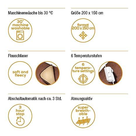 Beurer HD 100 - Manta XL, 200 x 150 cm, 100 W, 6 niveles de temperatura, apagado auto 3 h: Amazon.es: Salud y cuidado personal