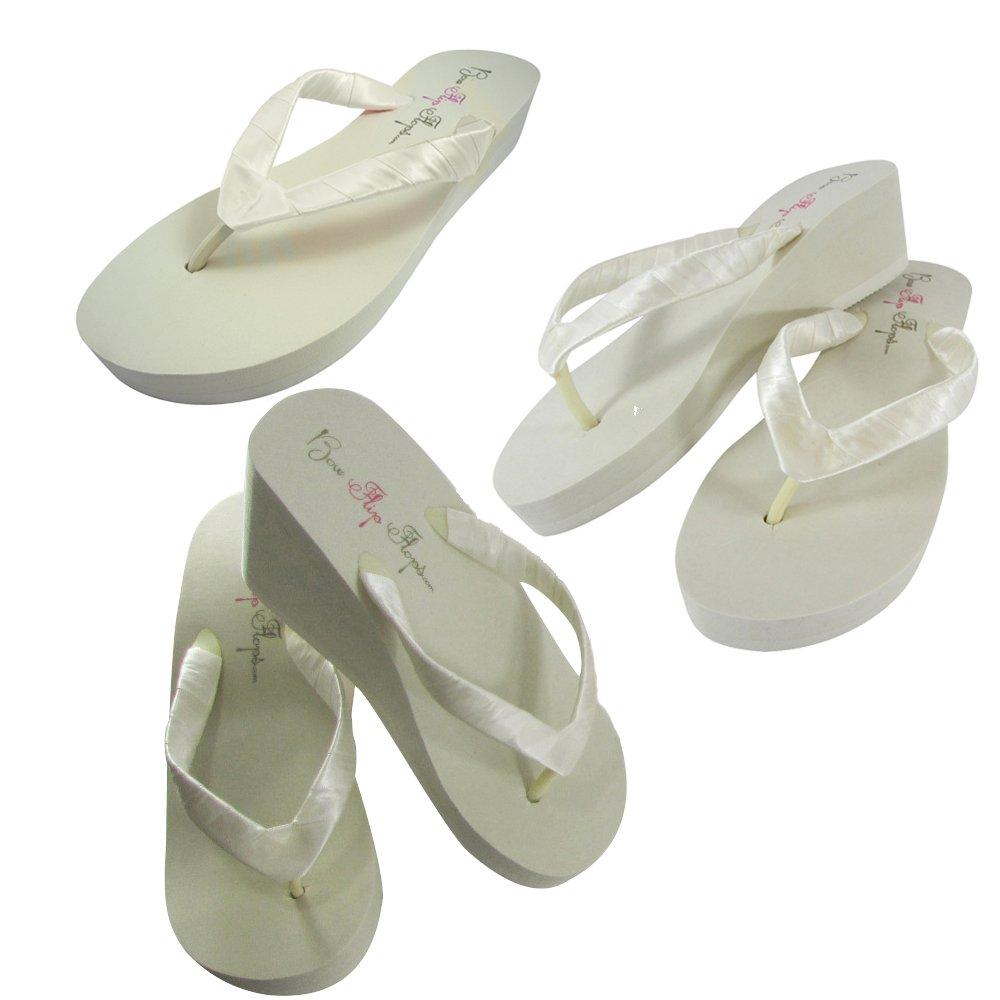 Pick your heel height ivory wedge flip flops