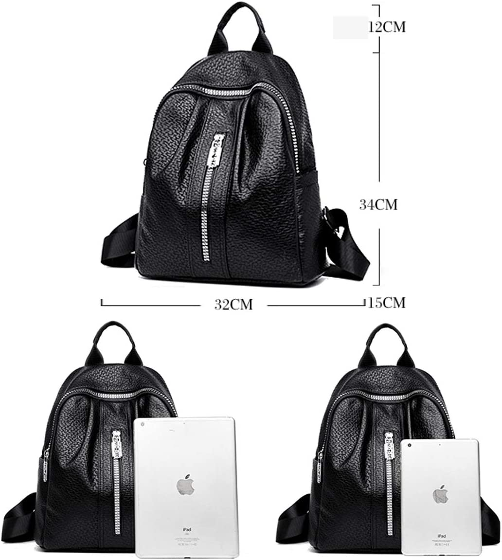 PU Leather Stylish Large Capacity Haoyushangmao Girls Multifunctional Backpack for Daily Travel//Tourism//School//Work//Fashion//Leisure Color : Red, Size : 32cm34cm15cm Black//red