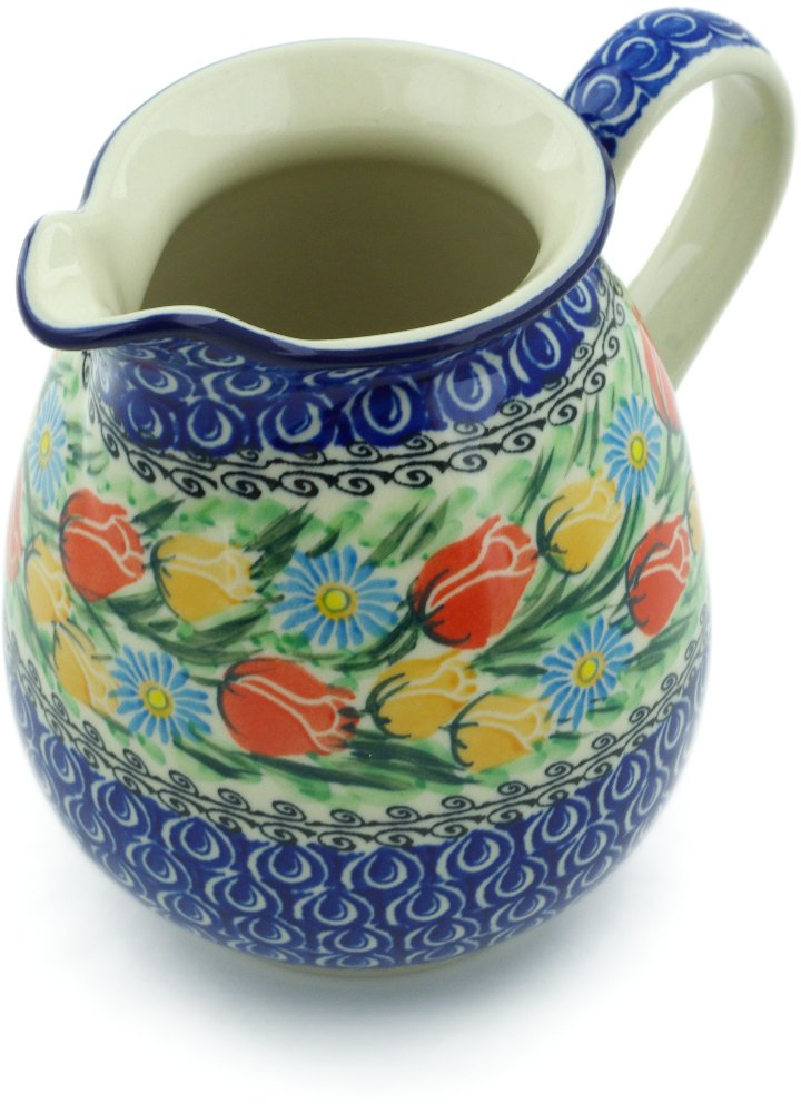 Polish Pottery 3½ cups Pitcher made by Ceramika Artystyczna (Breathtaking Tulips Theme) Signature UNIKAT + Certificate of Authenticity by Polmedia Polish Pottery (Image #1)