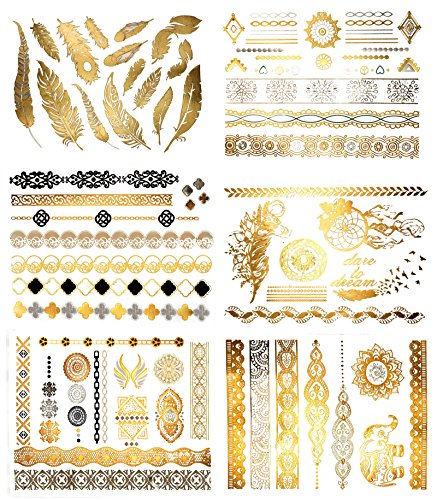 Temporary Henna Style Metallic Tattoos - 75 Gold and Silver Designs (6 Sheets) Terra Tattoos Harmony Collection -