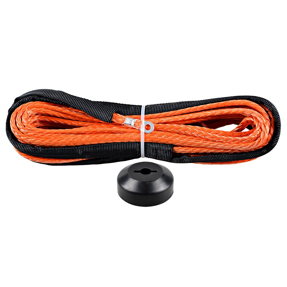 Astra Depot 50' x 1/4' 6400lbs Orange Synthetic Winch Rope Cable + Rubber Stopper ATV UTV SUV KFI Recovery Replacement Winch Line Cable Rope