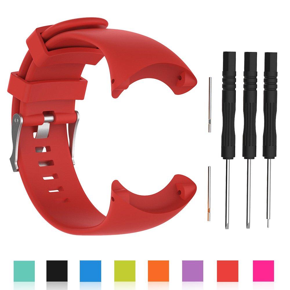 Bracelet de remplacement pour montre intelligente Suunto Core All Black - Silicone souple Orange Cyeeson