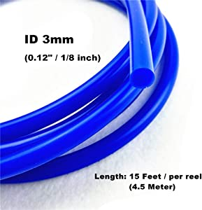 I33T High Performance Silicone Vacuum Tubing Hose 15 Feet Length per reel (4.5 Meter), ID 3mm (1/8 inch), OD 8mm Blue