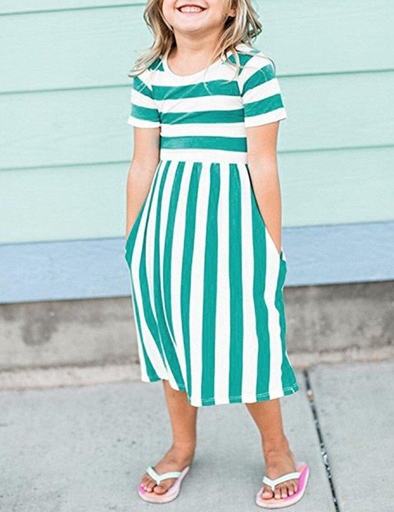 Yancorp Girl Dress Short Sleeve Casual Midi Stripe Dresses with Pockets Kids Summer Beach Fashion Wear 6T-11T (Green, L(8T-9T)) by Yancorp (Image #3)