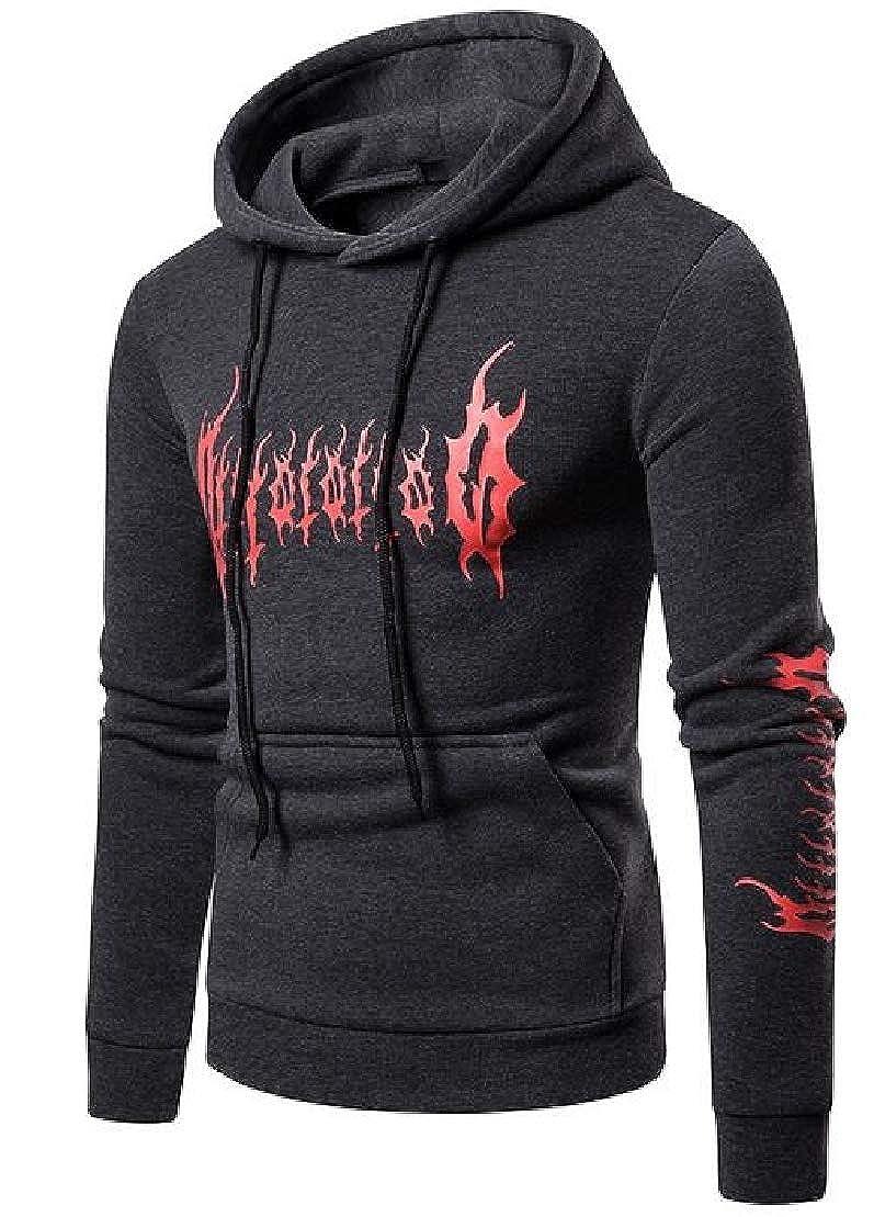 XTX Mens Activewear Kangaroo Pocket Plus Size Flame Print Pullover Hoodies Sweatshirt