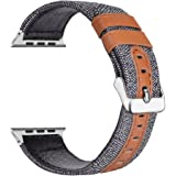LOYUT Watch Band Genuine Leather & Canvas Fabric Adjustable Replacement Bands With Metal Buckle Accessories for Apple Watch Series 3 & Series 1 Series 2 Edition (Grey, 42)