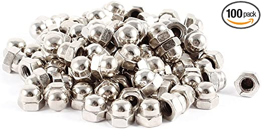 uxcell 100 Pcs Nickel Plated Dome Head Acorn Cap Capped Hex Nut M4 4mm