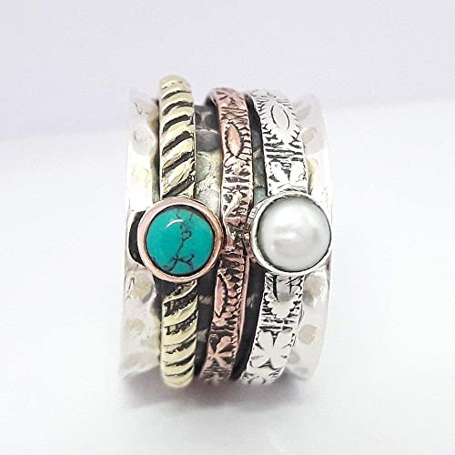 Amazon.com: Turquoise Pearl Spinner ring, Gemstone Ring ...