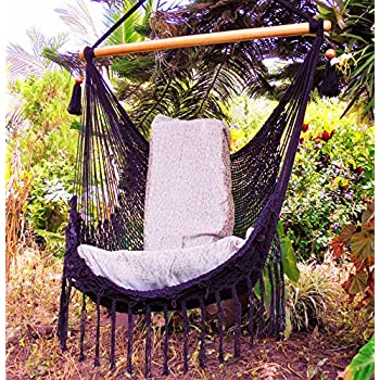 Elegant Black Hammock Chair With Macrame Edge Handmade Cotton/ Indoor Outdoor Chair  Hammock/ Hanging Chair