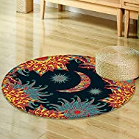 Dining Room Home Bedroom Carpet Floor Matcolorful seamless pattern with sun stars and moon vector Non Slip rug-Round 71