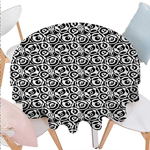 Bullseye Dots - cobeDecor Black and White Printed Round Tablecloth Circular Pattern Monochrome Dots with Bullseye Design Abstract Modern Art Flannel Round Tablecloth D70 Black White