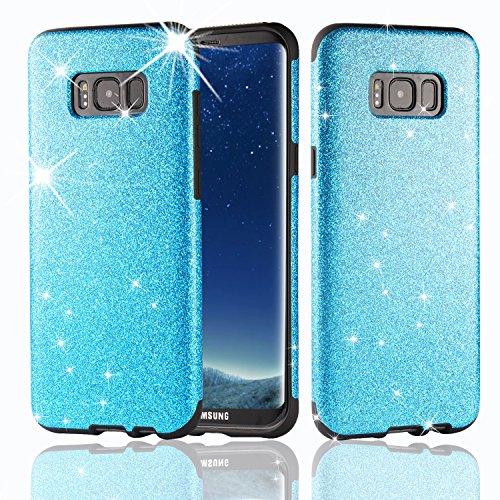 MEKO(TM) Galaxy S8 Case,Shiny Sparkles Glitter Bling Case -Built-in Glitter Firm Rubber Shock Absorbing Bumper Case for Samsung Galaxy S8-(Blue)