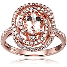 10k Rose Gold Morganite and Diamond Double Swirl Halo Oval Engagement Ring (1/3cttw, H-I Color, I1-I2 Clarity), Size 7