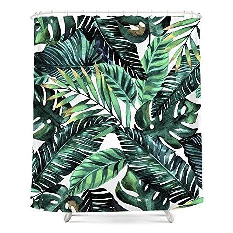 Verde Tropical Palm hojas cortina de ducha personalizada impresión Digital tela de poliéster cortina de ducha