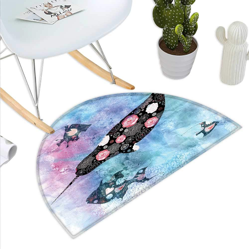 color05 H 23.6  xD 35.4  Narwhal Semicircle Doormat Pop Culture Phrase with Unicorn of The Ocean Design colorful Cartoon Character Halfmoon doormats H 27.5  xD 41.3  Multicolor