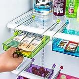 Einfac 7.87in*5.9in*3in Multipurpose Fridge Storage Sliding Drawer Freezer Storage Shelf Refrigerator Organizer Space Saver Shelf (Color Random)