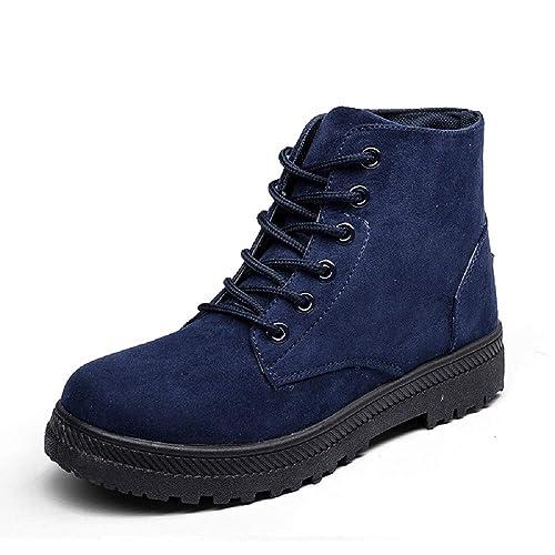 Botines Mujer Invierno Tobillo Nieve Fur Calientes Ante Planas Altas Botas Cordones Tacon Ancho Casual Zapatos Rojo Amarillo Gris Azul 35-43: Amazon.es: ...