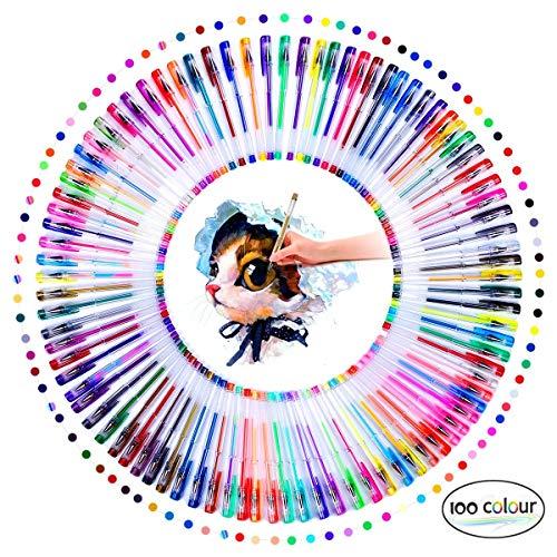Gel Pens, 100 Pack Coloring Pen Set for Adults Kids Books Scrap Booking Drawing Writing Glitter Metallic Pastel Swirl Doodling Art Painting Pens