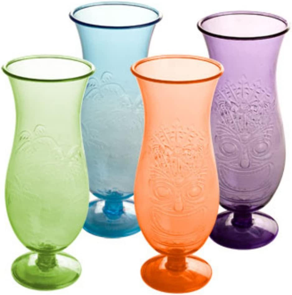 Plastic Luau Hurricane Glasses, 16 Oz. Set of 4 Great for Frozen Cocktails Event Planners,.