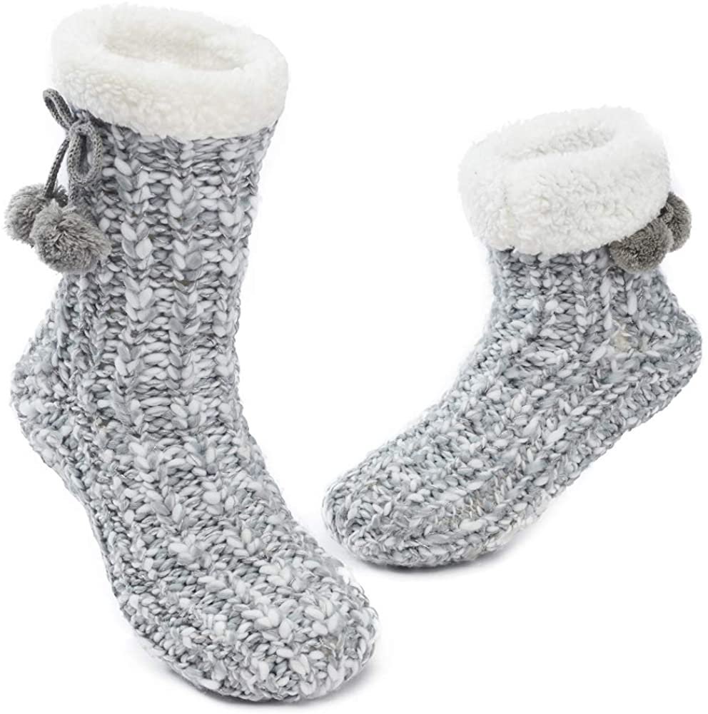 MaaMgic Womens Warm Fuzzy Slipper Socks Winter Girls Cozy Funny Grip Socks