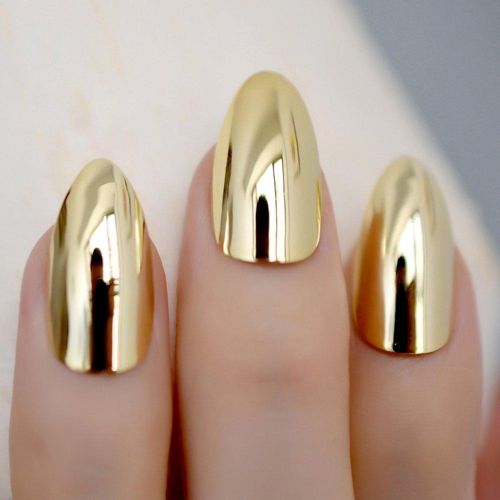 Amazon.com: Espejo metálico dorado brillante falso Stilettos ...