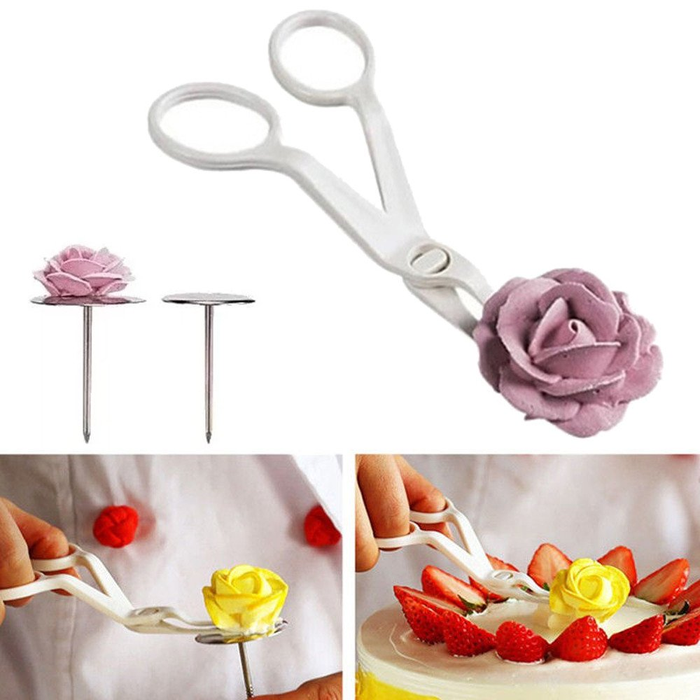 Kimanli Cake Mould, 3Pcs Piping Flower Scissors+Nail Icing Pudding Cake Baking Tools Biscuit Molds Hole Cookies Cupcake Bakeware Pan Mould (2PC) by Kimanli (Image #2)