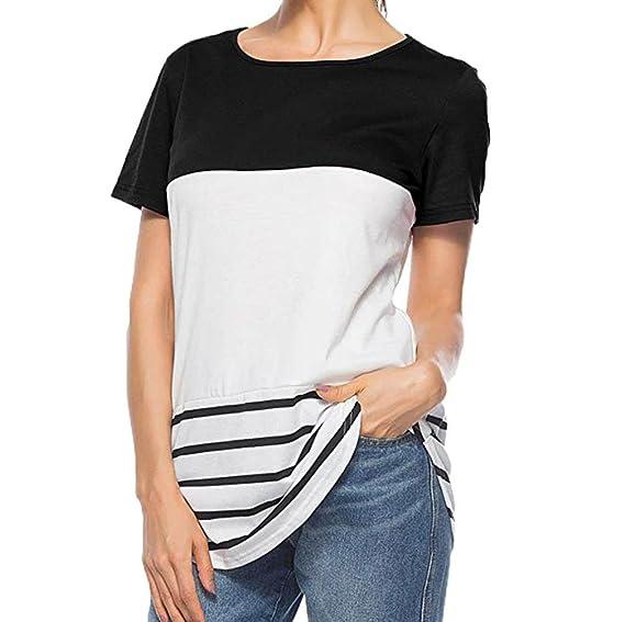 Camiseta de Empalme a Rayas Mujer,Camiseta Casual de Manga Corta con Cuello