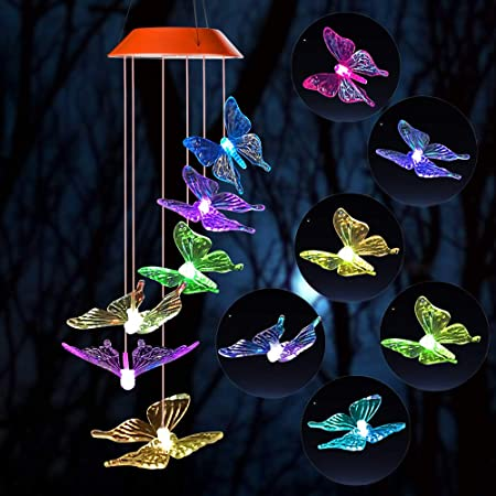 Solar Powered Wind Chime Light Butterfly LED Garden Yard Hanging Colorful Decor