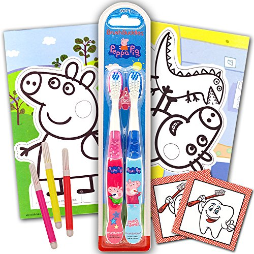 Peppa Pig Toothbrush Set Kids Toddlers ~ 2 Peppa Pig Toothbrushes, 25 Reward Stickers and Coloring Pack
