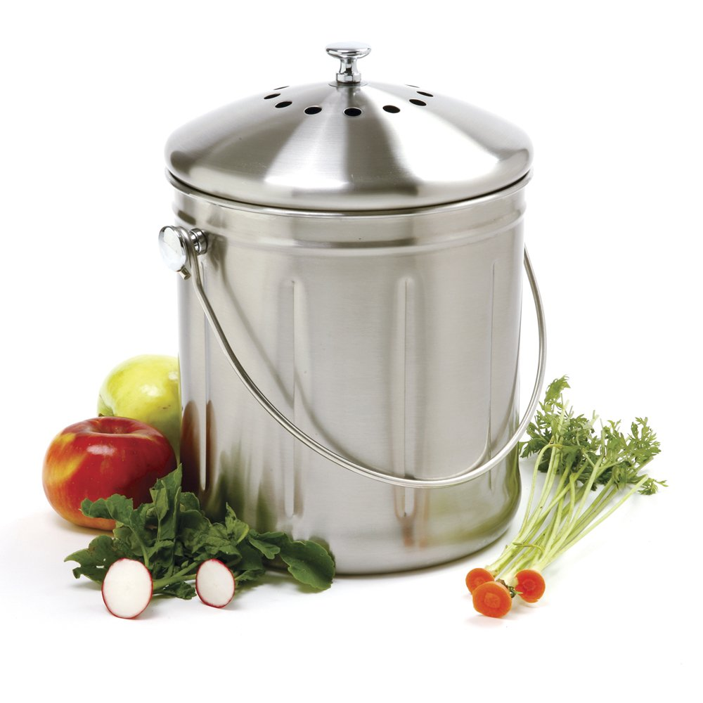 Norpro Jumbo 1.5 Gallon Stainless Steel Kitchen Counter Compost Keeper Pail Bin: Amazon.es: Hogar