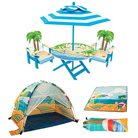 Amazoncom Kids Palm Tree Adirondack Table And Chairs Set Pacific - Palm-tree-furniture-from-pacific-green