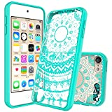 Image of Ipod Touch 6/6th Generation Case,Ipod Touch 5/5th Generation Case Clear, with HD Screen Protector, AnoKe Mandala Flower Acrylic TPU Women Girls Slim Fit Phone Cover Cases For Ipod Touch 5 6 TM CH Mint