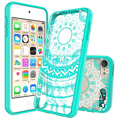 Anoke Mandala Flower Acrylic Hard Rubber TPU Hybrid Bumper Clear Case with HD Screen Protector for iPod Touch 6th / 5th Generation - CH Mint (Ipod 5 Jelly Silicone Cases compare prices)