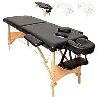 TecTake Mobile Massageliege 2 Zonen höhenverstellbar inkl. hochwertiger Kopfstütze + Tasche - diverse Farben - (Schwarz | Nr. 401463)
