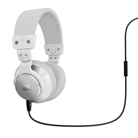 BassLine Over-Ear DJ Style Headphones with In-line Mic Controls White