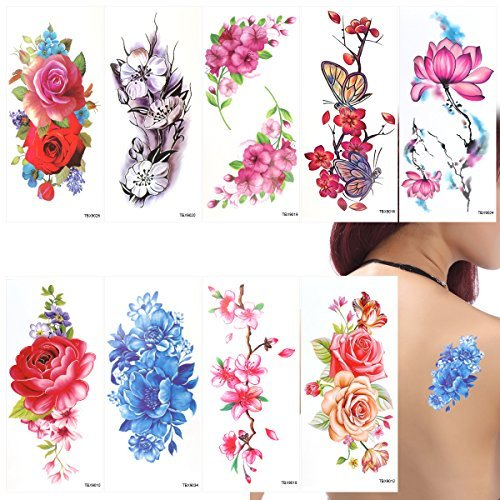 ULTNICE Flower Temporary Tattoos Stickers Lotus Cherry Blossoms Flash Tattoo Pack of 9 -