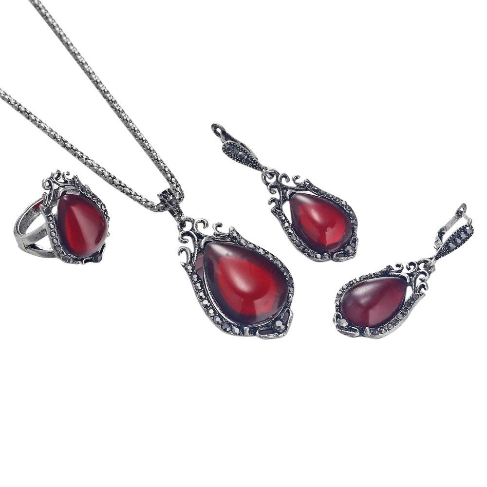 Geetobby Alloy Water Drop Pendant Created Simulated Gem Teardrop Dangling Necklace Earrings Rings Set