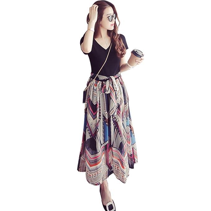 BOZEVON Vestido Lactancia de Mujer Embarazo - Moda Raya Premamá Blusa Maternidad de Manga Larga Bowknot Verano Camiseta Vestidos: Amazon.es: Ropa y ...
