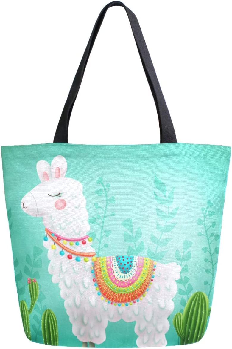 ZzWwR Cute Boho Llama Cactus Large Canvas Shoulder Tote Top Handle Bag for Gym Beach Travel Shopping