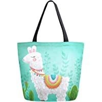 ZzWwR Chic Print Extra Large Shoulder Tote Bag for Beach Travel Weekender Gym Grocery Shopping, Alpaca (Multi) - g21598368p281c318s555