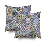 Musesh Pack of 2 azulejos patchwork Cushions Case Throw Pillow Cover Sofa Home Decorative Pillowslip Gift Ideas Household Pillowcase Zippered Pillow Covers 16x16Inch