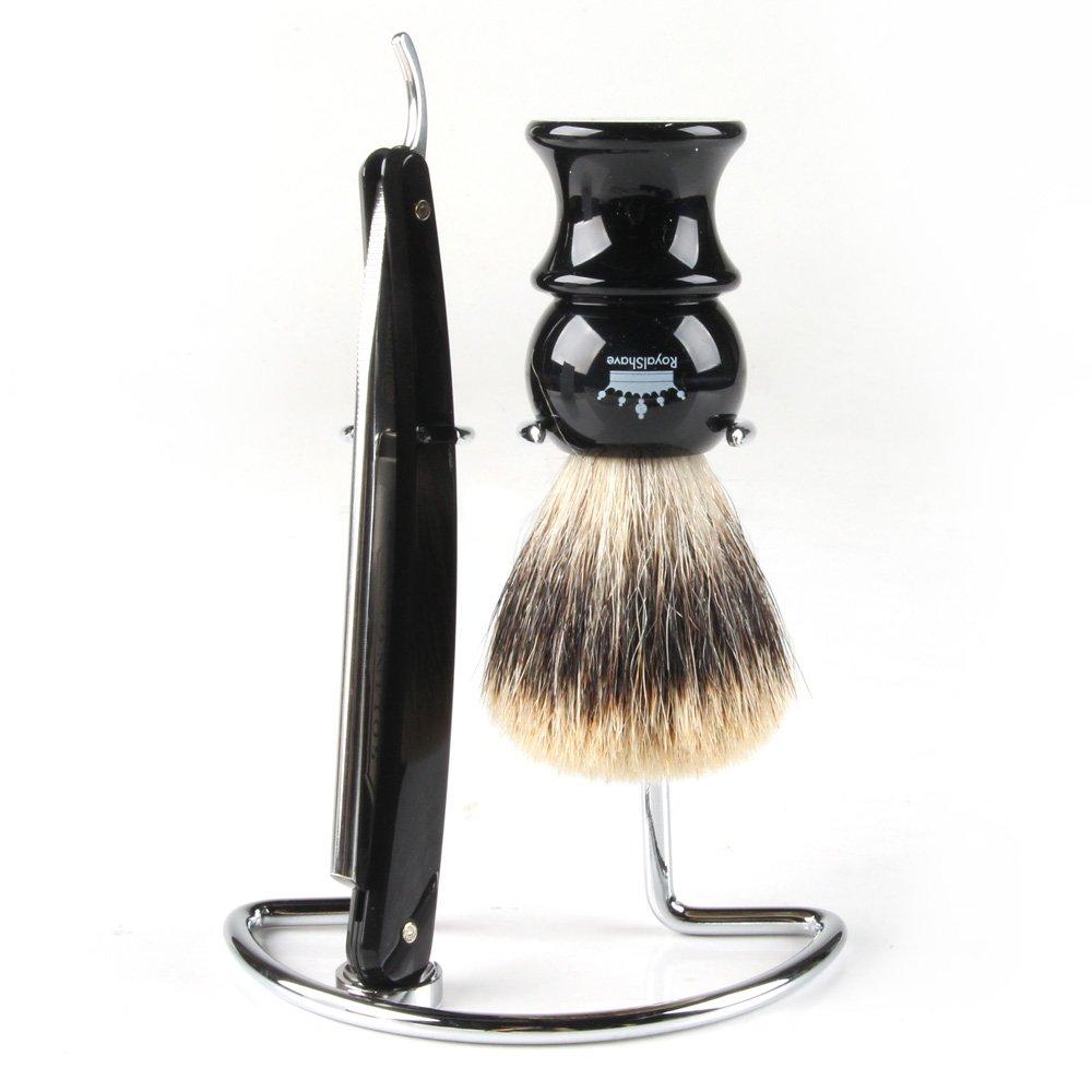 RoyalShave Men's Straight Razor, Badger Brush, Chrome Stand Set - Featuring Dovo 5/8'' Straight Razor!