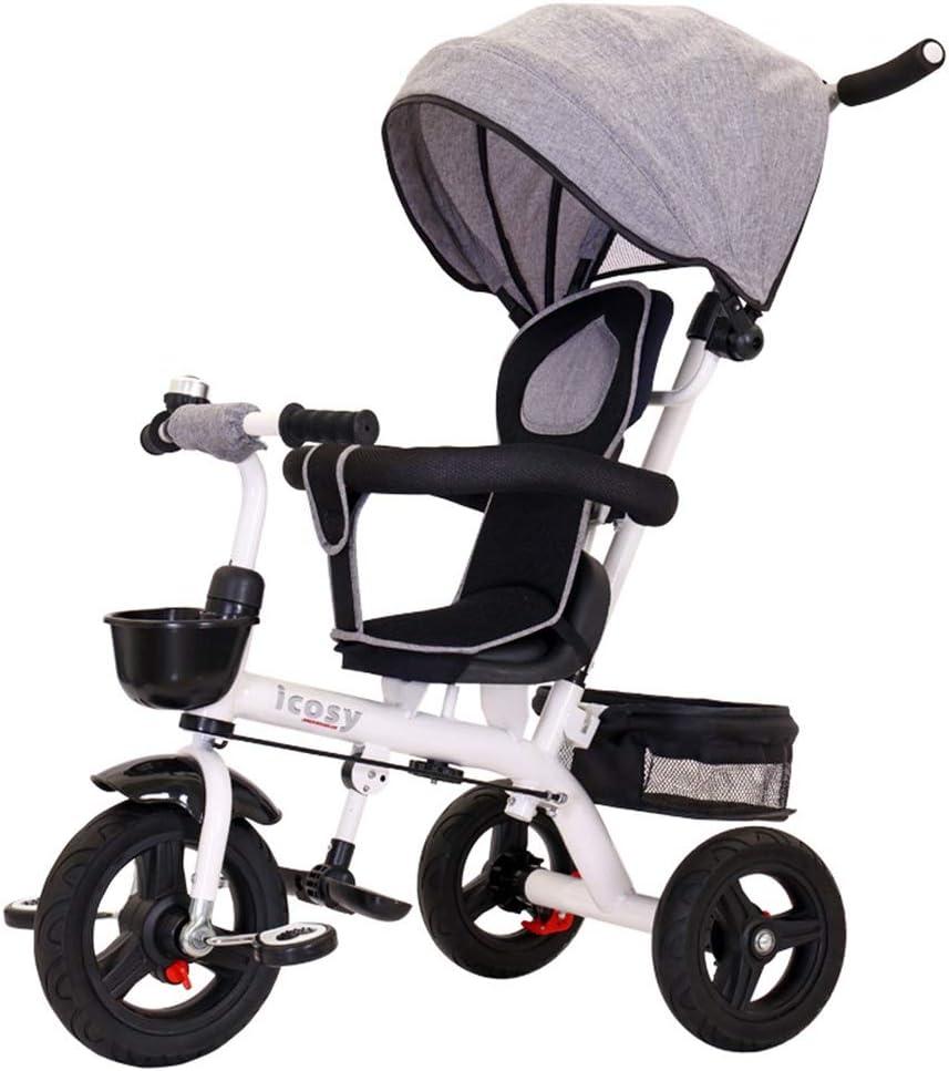 ZzheHou Triciclo para niños Triciclo for niños for niños de 1 a 6 años de Edad Triciclo para niños Plegables (Color : Gris, tamaño : Un tamaño)