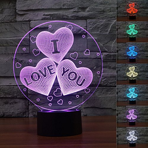 SUPERNIUDB Novelty Valentine 3D I Love You 3D Night Light LED USB 7 Color Change LED Table Lamp Xmas Toy Gift