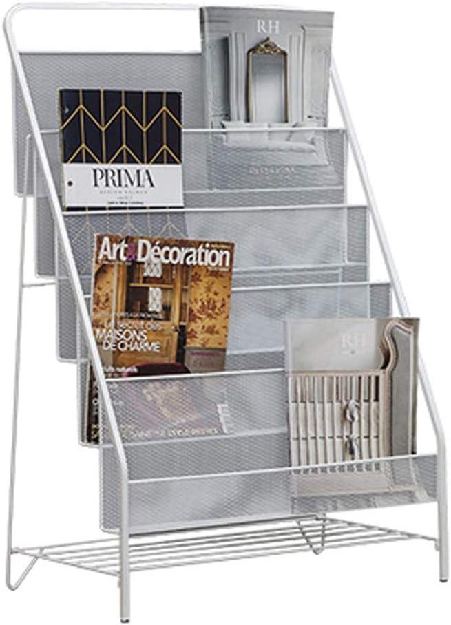 LJFYMX Revistero Revistero de Hierro Forjado Dormitorio de Metal Junto a la Cama Piso de Oficina revistero estantería de Libros for niños Revistero de Suelo (Color : White, Size : 53cm)