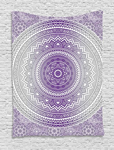 - Ambesonne Grey and Purple Tapestry, Eastern Traditional of Cosmos Pattern Zen Boho Ombre Mandala Design Print, Wall Hanging for Bedroom Living Room Dorm, 60 W X 80 L Inches, Purple White
