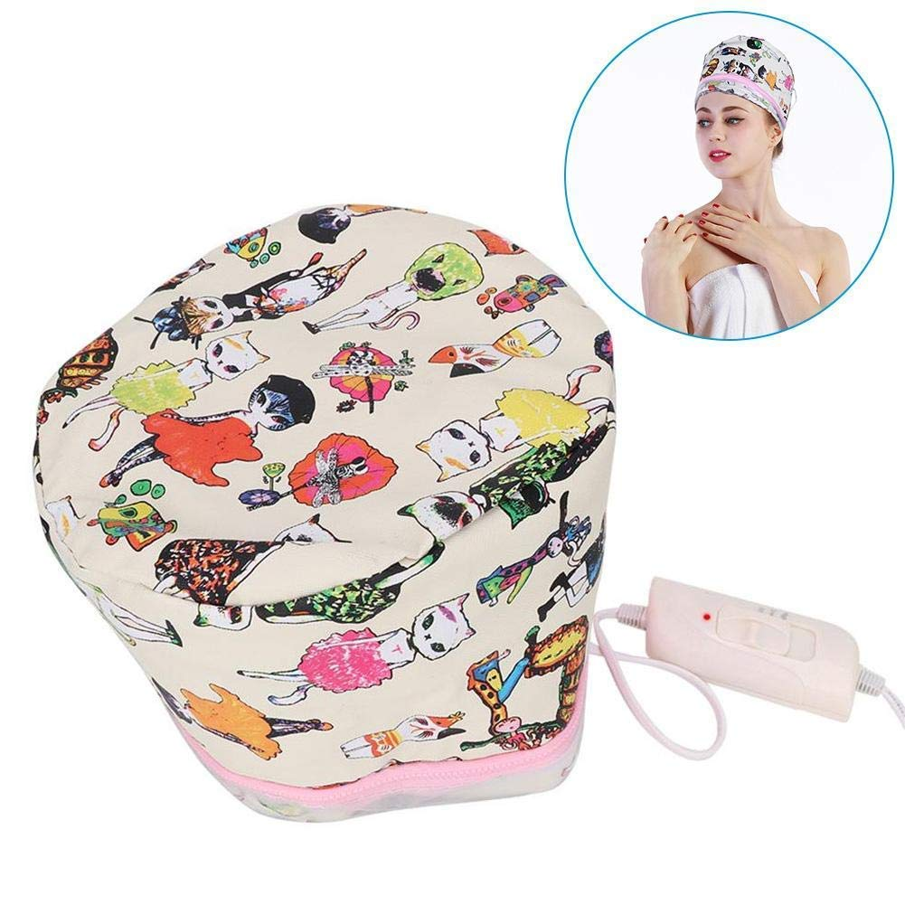 Electric Thermal Steamer Hair Headgear, SPA Home Steam Haircare Hat 3 Grades Temperature Control Heating DIY Hair Styling Tools for Damaged Hair Nourishing Moisturize Deep Conditioning(US)